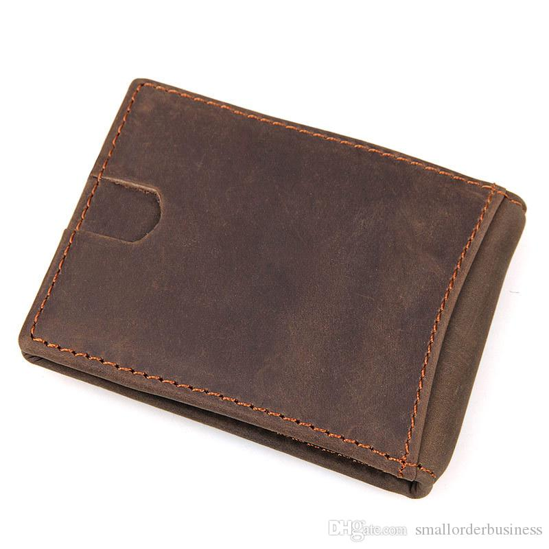 money clip wallet RFID brown color casual simple design genuine leather men wallet MOQ Dropshipping