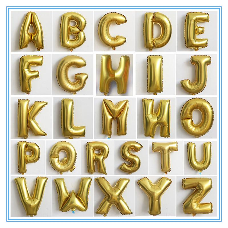 Shinning Gold Color Alphabet Letters Number Foil Balloons DIY Balloons Birthday Party Wedding Decoration Balloons Party Supplie