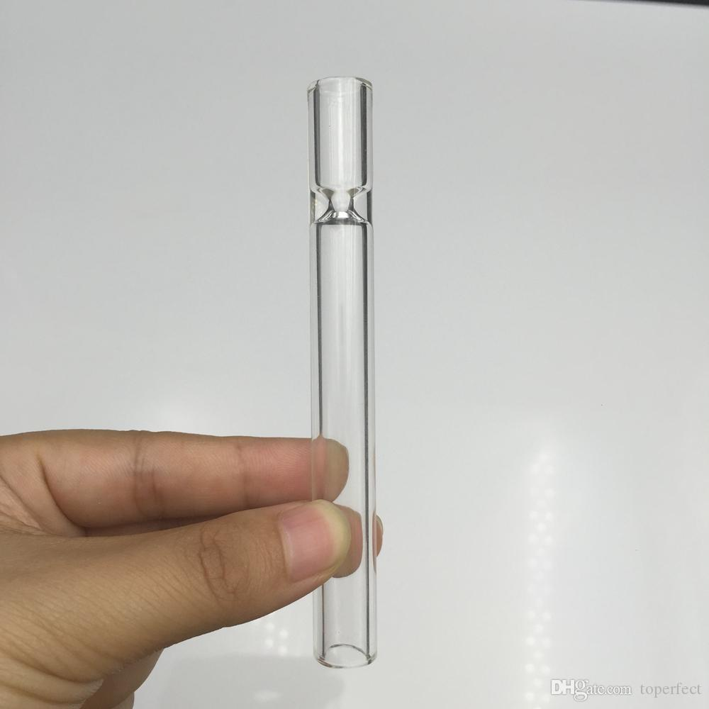 4.5 inch Cheap Glass Pipe Tobacco Cigarette bat One Hitter Pipe with Clear Glass Straw Tube Cigarette Filter Pipes Glass Filter Tips