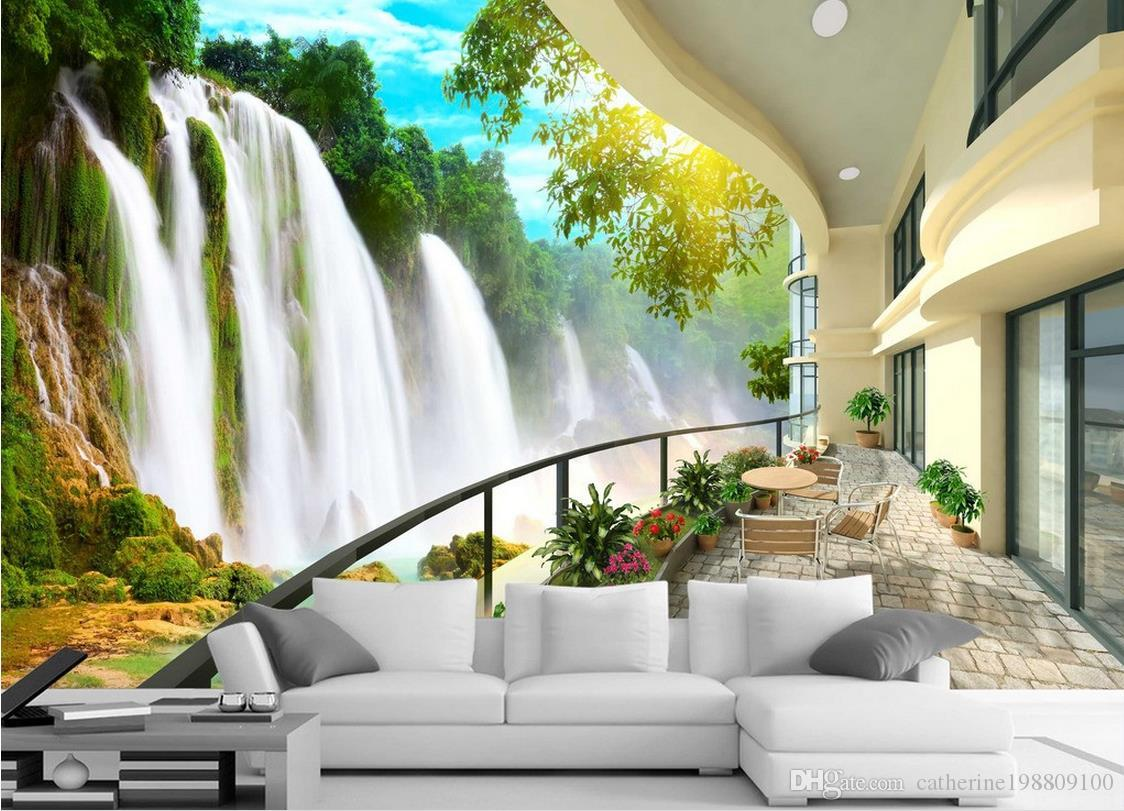 Hd Waterfall Landscape Tv Wall Mural 3d Wallpaper 3d Wall Papers