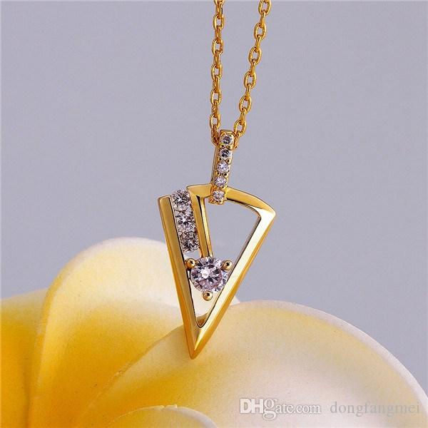 Good A++ Yellow Gold White crystal jewelry Necklace for women DGN809,mosaic 18K gold gem Pendant Necklaces with chains