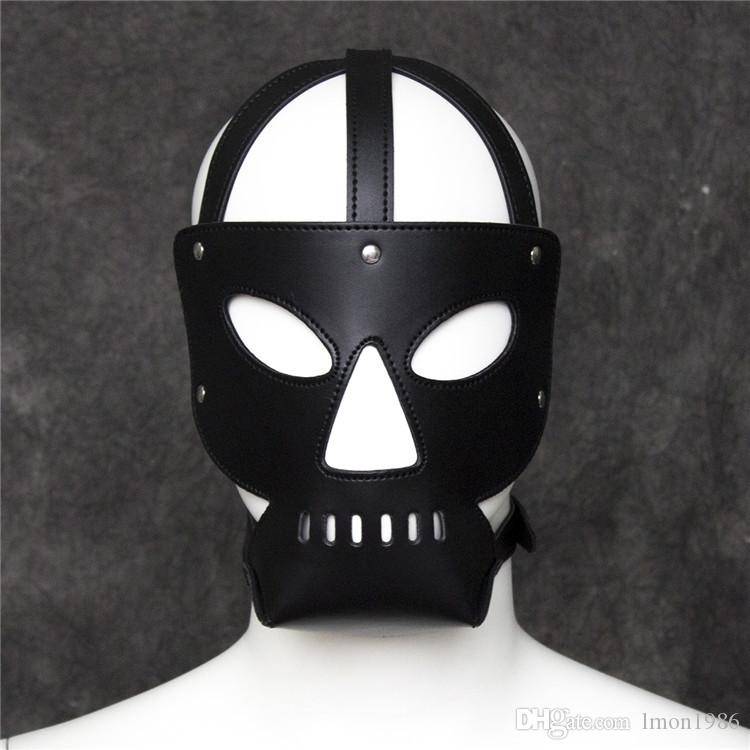 Top Grade Fetish PU Leather Dog Mask Head Harness Sex Slave Collar Leash Mouth Gag Bondage Hood Blindfold Adult Games Sex Toys for Couples