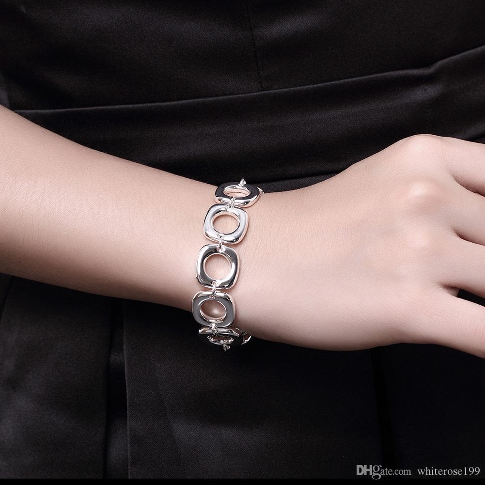 Commercio all'ingrosso - regalo di Natale al prezzo più basso al dettaglio, spedizione gratuita, nuovo bracciale in argento 925 moda BH106