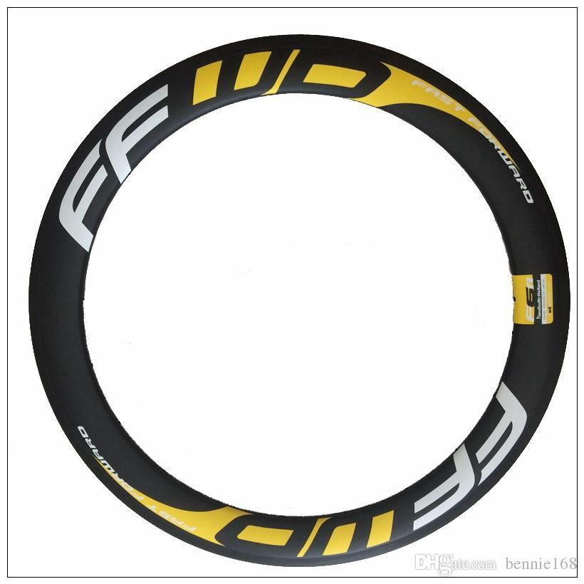 FFWD White Yellow 700C 60mm Depth 25mm Width Full Carbon Road Bike Rims Clincher 3K Matte Carbon Bicycle Wheels Rim
