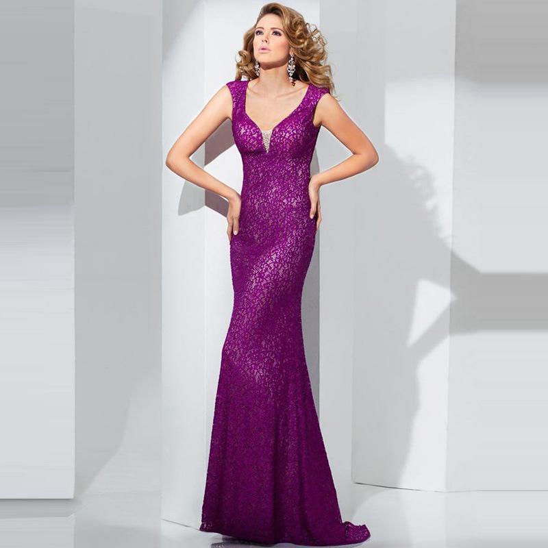 Low-Cut Halter Evening Dresses