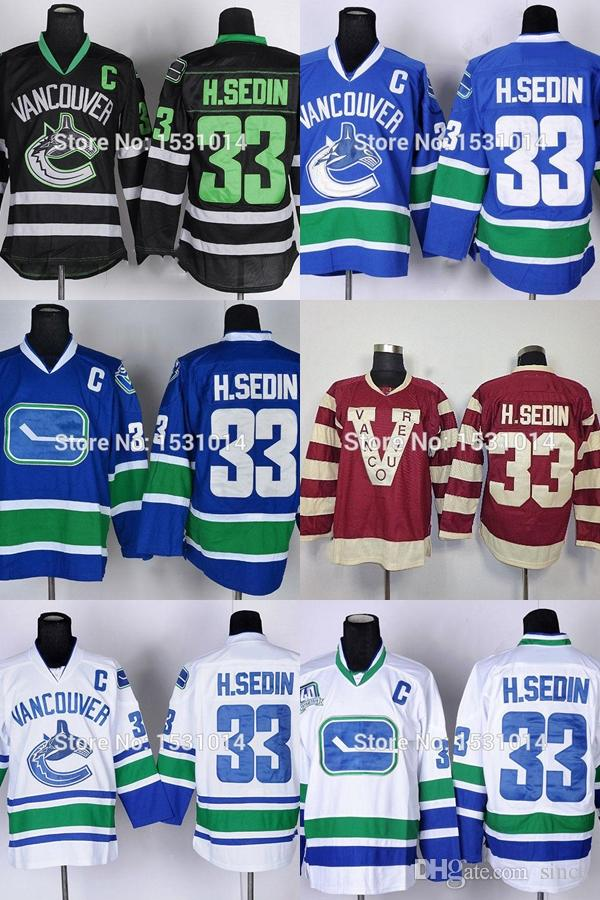 best cheap 80ee3 ee769 2016 New, Cheap Vancouver Canucks Hockey Jersey #33 Henrik Sedin H.Sedin  Home Blue White Black Authentic Stitched Jersery M-XXXL For S