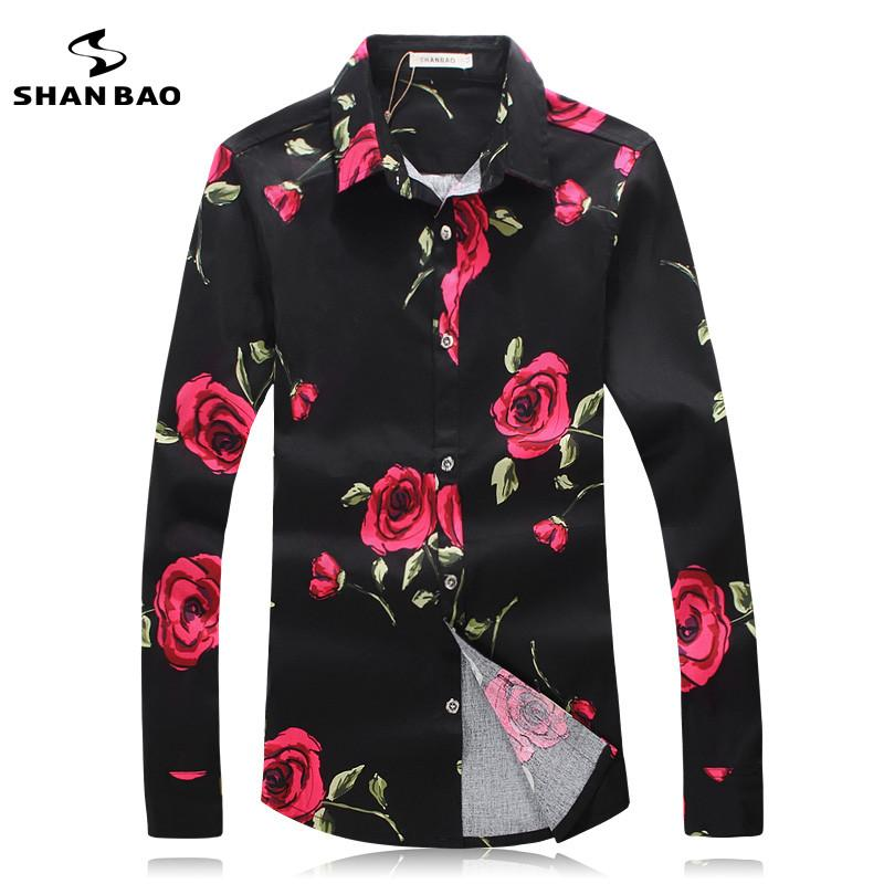 2018 Wholesale Shan Bao Branded Apparel Men Shirt Colors Printing Fashion  Trend Red Roses Autumn 2017 Men Cultivating Long Sleeved Black Shirt From  Benedica ...