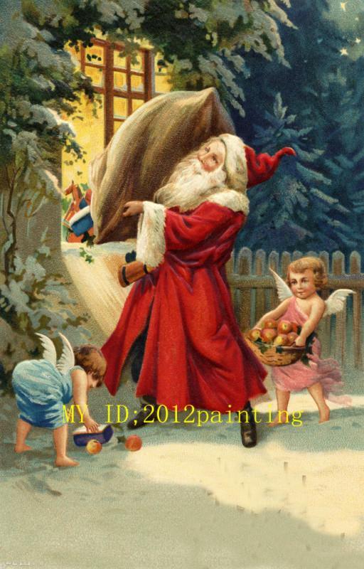 Enmarcado, Lotes al por mayor, R314 #, Santa Claus el retrato de los niños, Decoración de pared pintada a mano Pintura al óleo del arte Tamaños múltiples se pueden personalizar