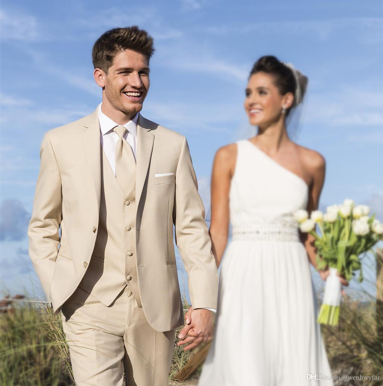2017 Wedding Suits Beige Men Tuxedos Groom Tuxedos Best Man Suit ...