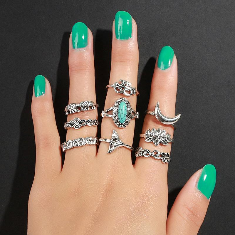 Newest joint ring for women wide index finger bohemian rings retro totem carved geometric rings with elephant fishtail