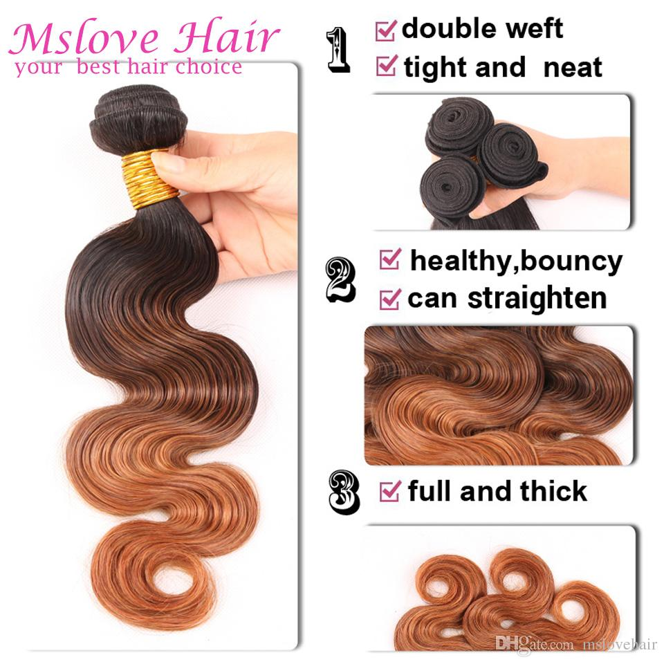 Ombre Brazilian Hair Weave Body Wave Bundles T1B/4/27 Human Hair Extensions 3 Tone Blonde Remy Hair 3Bundles Deal Of Body Wave