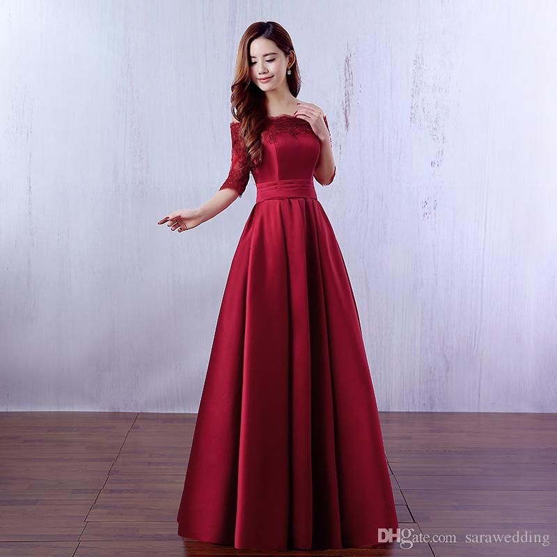 Half Sleeves Long Satin Bridesmaid Dress With Lace 2019 Elegant Lace Up Evening  Party Gowns Burgundy Red Color Bridesmaids Dresses Sale Cerise Pink ... 299ec0449959