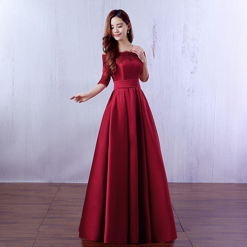 9ddaa253f27f Media manga de satén largo vestido de dama de honor con encaje 2019  elegante encaje hasta vestidos de fiesta por la noche color rojo burdeos