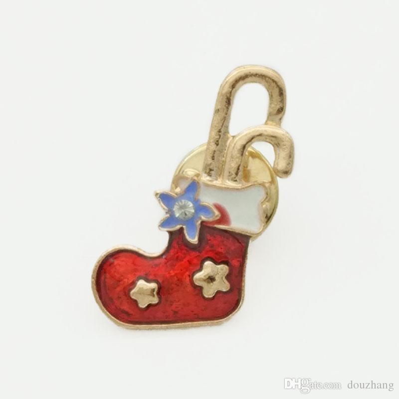 Hot Unisex Xmas Gift Christmas Brooches Rhinestone Enamel Tree Elk Boot Brooch Pin Women Men Jewelry