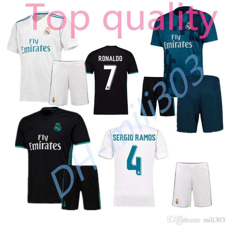 2019 2017 2018 Men Real Madrid Soccer Jersey Kits 17 18 RONALDO Home White  Away Black Third BALE RAMOS ISCO KROOS MODRIC Football Shirts From Mili303 4e81570948458