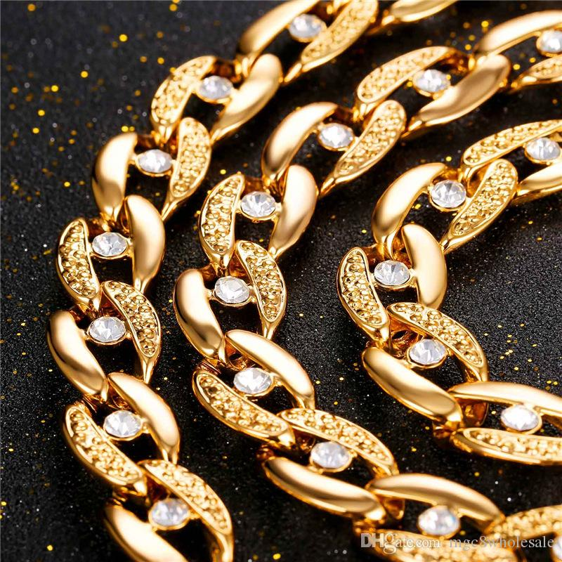U7 Rhinestone Choker Necklace Bracelet for Women/Men Jewelry 18cm 14MM Width Trendy Gold/Platinum Plated Chunky Chains Perfect Accessories