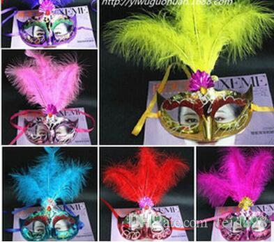 New mini feather mask lace fringed pearl party mask venetian masquerade gift halloween decoration