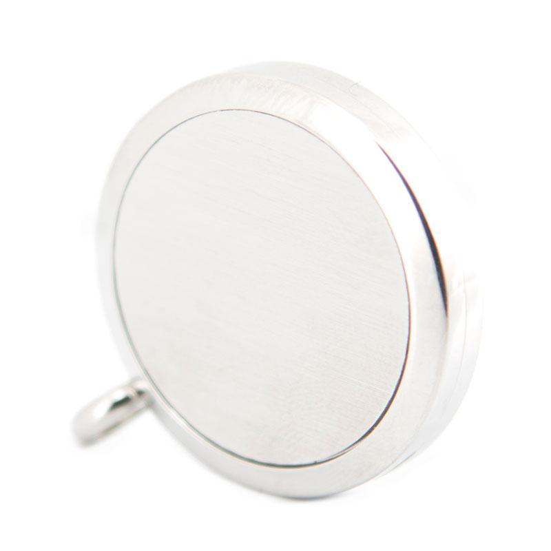 Torta de plata 316 Collar de Acero Inoxidable Colgante Aroma 30mm Medallón Esenciales Difusores Aceites Medallones Libres 50 unids Almohadillas de Fieltro Como Regalo