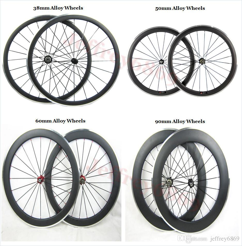 Clincher alloy Wheels Made in China DIY painting road bike 50mm carbon alloy wheelset with 3K 23mm width A271 hub