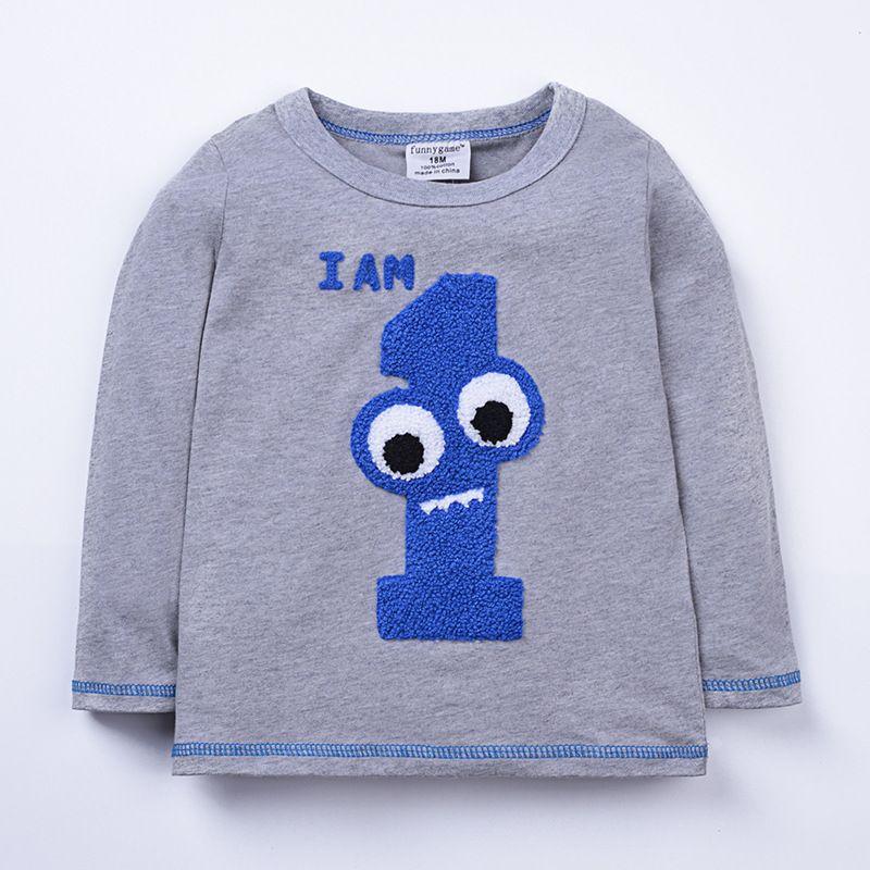 Mode Bébé Garçons Filles numérique Nombre animal manches rayé long T-shirt de l'automne Cartoon Tops imprimés