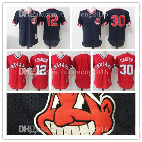 8d7076533 ... Stitched MLB Majestic Flex Base Jersey Mens Cleveland Indians 30 Joe  Carter 12 Francisco Lindor Baseball Jerseys Mens Throwback Embroidery Mesh  Mitchell ...