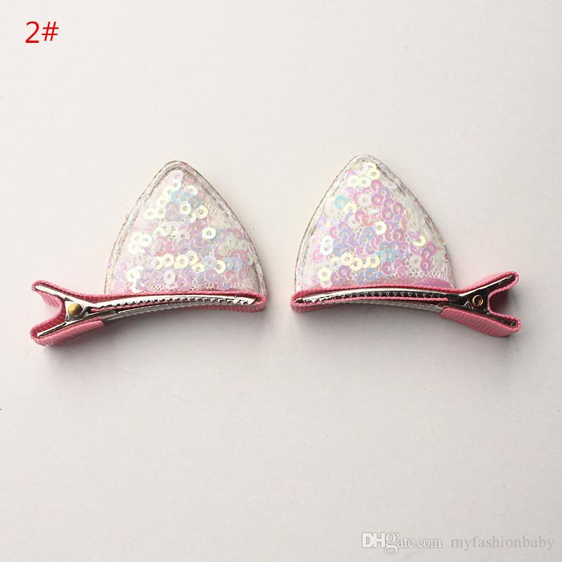 2017 NEW Baby Hair clips Glitter Felt Bows Hair Clips Girls Pink Cat Ears Hairpins Cartoon Clip