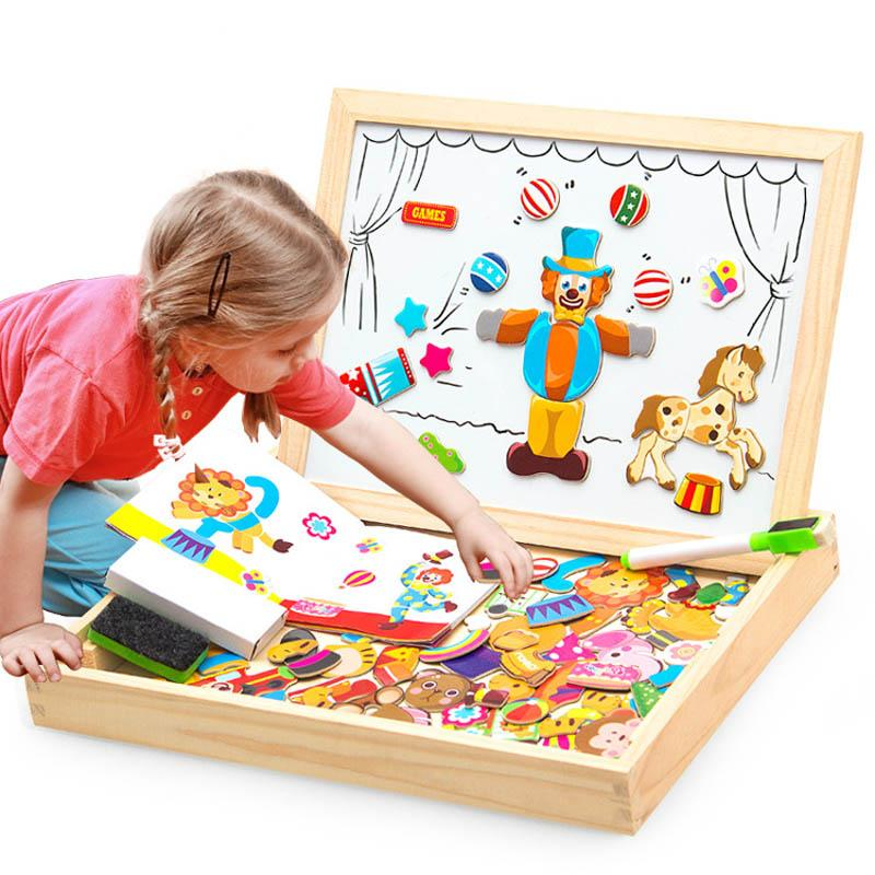 Boys Toys Magnetic Easel Wooden Double Face Dry Erase Board Puzzle