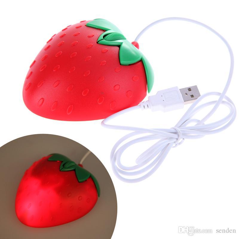 Novidade Morango USB Optical Mouse, Doce Coração Com Fio USB Mouse coração vermelho dos desenhos animados fruit mouse para Computador PC / Laptop Crianças / amantes presente