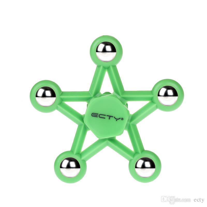 OEM ECTY Spinner Cinq étoiles HandSpinner Des doigts en spirale Des doigts Fidget Spinner EDC Une main Spinner Acrylique Fidgets Jouets Gyro Toys avec Boîte