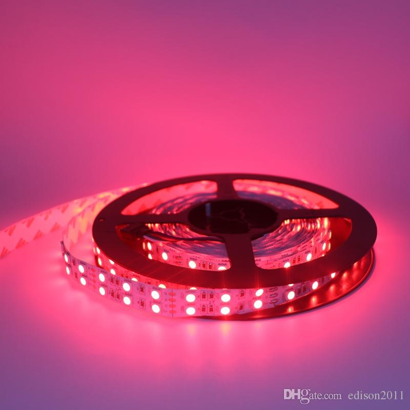 Edison2011 5050 5M 600Leds Double Row Led Strips Light Non Waterproof Warm/Pure White RGB LED Lights 8400 Lumens DC 12V Flexible
