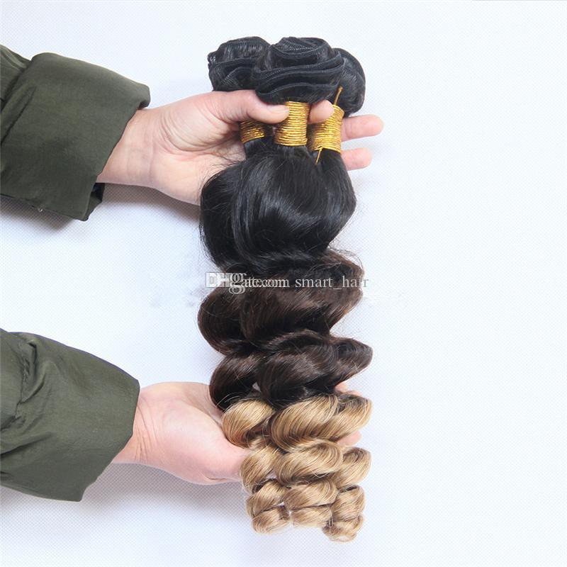 Ombre # 1B / 4/27 Lose Welle Menschenhaar Bundles Honig Blonde Haarverlängerung Mit Ohr Zu Ohr Spitze Frontal 4 Teile / los
