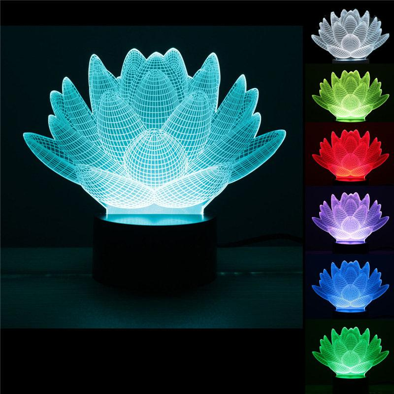 Whole Personality Lotus Flower Usb 3d Led Night Light Changing Mood Desk Lamp Touch On Kids Living Bedroom Table Pin Maker Machine
