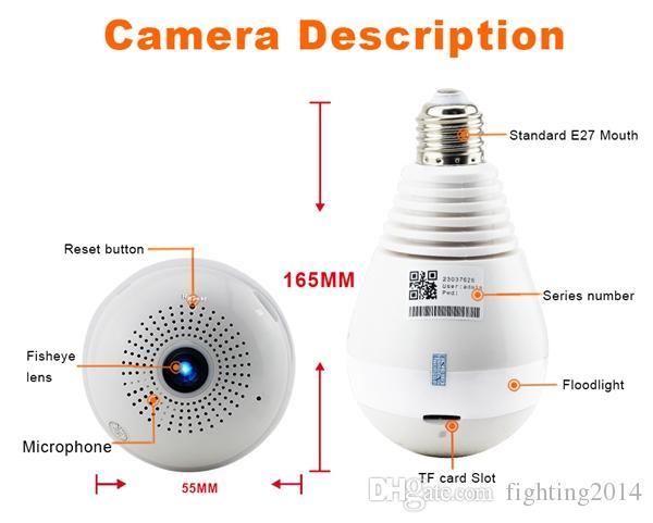 WIFI Birnen-IP-Kamera 360 Grad volle HD 1080P VR panoramische Kamera Fisheye drahtlose Überwachung Hauptüberwachung CCTV Kamera-Kindermädchen Nockenweiß