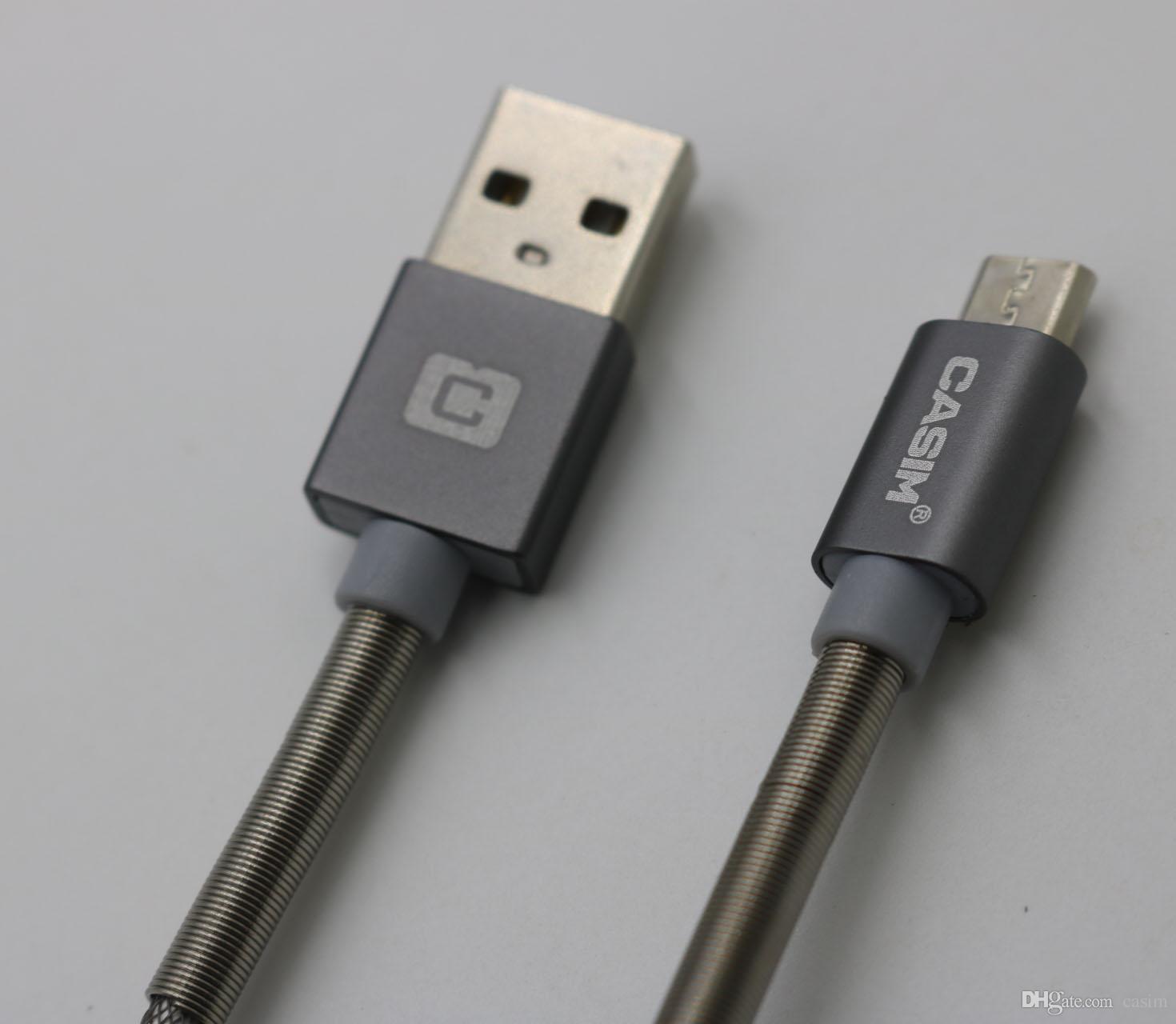CASIM Tipi C Samsung Android Şarj Için Yeni USB Mikro Kablo Şarj Dada Cablel Kablosu 2A Yarım Bahar Metal Balıkçılık Net Kablolar