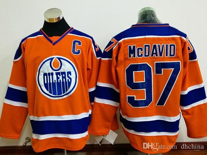 new style b2913 b2a46 New Hockey Jerseys Oilers #97 McDavid Jersey Orange Blue White Color High  Quality size 48-56 Mix Order Stitched