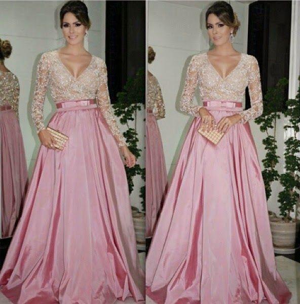 Nouveau 2017 robes de bal col en V manches longues A-ligne poussière rose Illusion avec ceinture robes de soirée