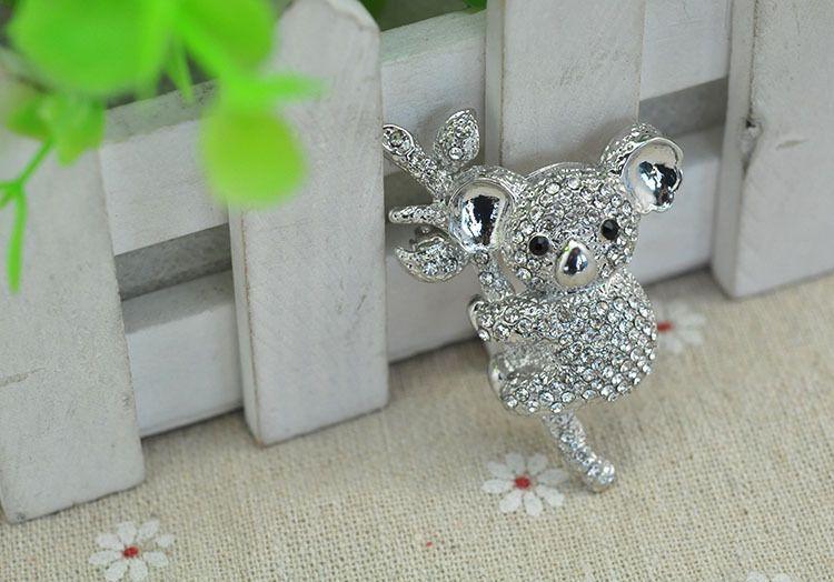 Broche De Urso De Koala, Broche De Coala De Cristal, Broches De Prata Do Ramalhete Do Rhinestone, Broches De Decoração Do Quadro De Travesseiro