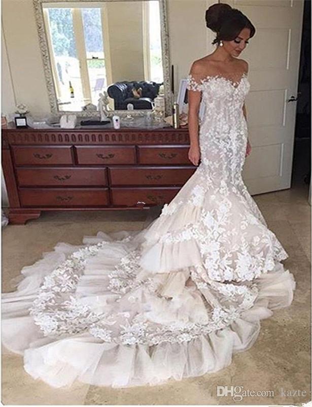 Steven Khalil 3D аппликация цветочный собор поезд Русалка свадебные платья 2018 Sheer шеи с коротким рукавом кружева Fihtail замок свадебное платье