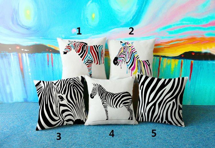 Zebra dekorative Kissen für Sofa oder Auto kreative Heimtextilien Kissen mit Doppelseiten Druck Leinen Baumwolle Dekokissen Fall 17,7 Zoll