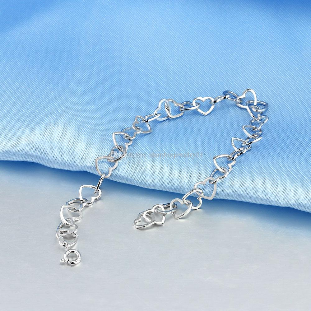 Shardon 2016 wholesale Fashion style heart-shaped pure 925 sterling silver chain bracelet for couples Valentines Gift