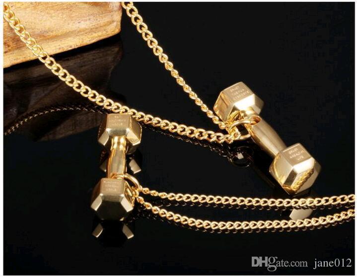 Persönlichkeit Titan Barbell Anhänger Halskette Mode Männer Frauen Hantel Sport Halskette Schmuck Rose Gold Silber Schwarz