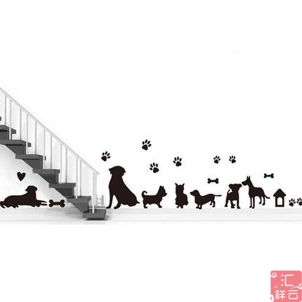 Cute cats dogs happy friends big sweet family Wall stickers decoration decor home decals fashion waterproof bedroom living sofa