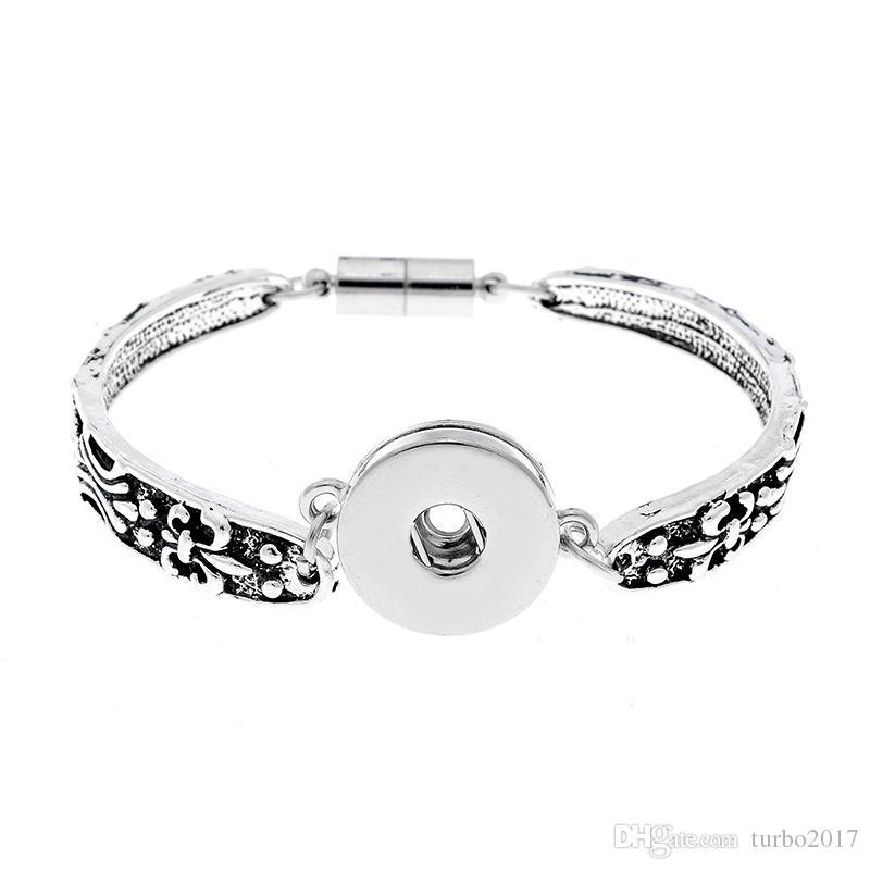 Snap Button Bracciali misura 18mm Bottoni in metallo Noosa Chunks Snap Bracciale in argento antico Noosa Snap gioielli