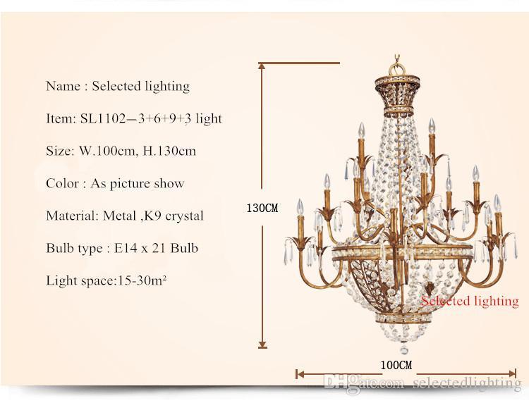 Vintage -6 Light Large Crystal Chandelier Floral Wrought Iron Pendant Chandelier Lighting for Hotel Home Deco