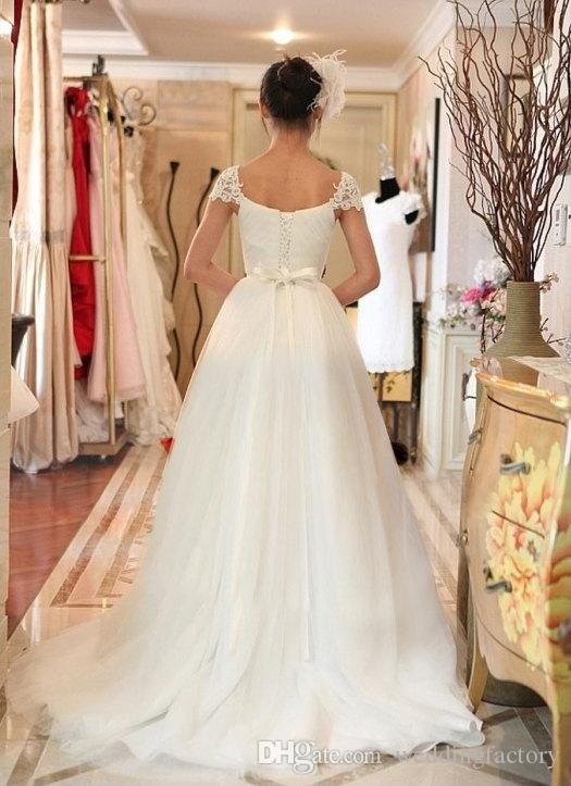 Stunning Cheap A Line Tulle Wedding Dress Ruched Sweetheart Lace Appliques Shoulder Corset Bridal Gowns Sweep Train Inexpensive