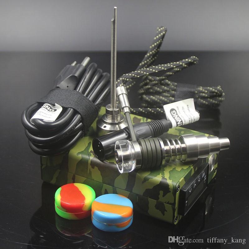 Colorful Mini electric Titanium Dab nail universal DNail set for 10 16 20mm female glass water pipe bong Ti e-cigs Rig vaporizer Kits