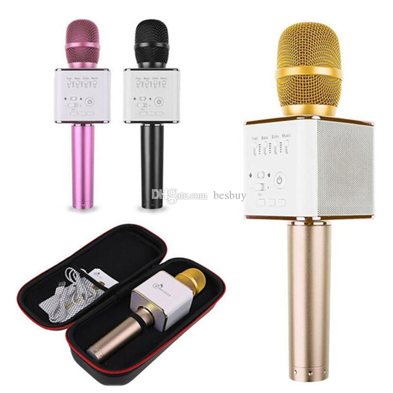 Q9 Handheld Microphone Bluetooth Wireless KTV With Speaker Mic Microfono Handheld For Smartphone Portable Karaoke Player VS Q7 0802218