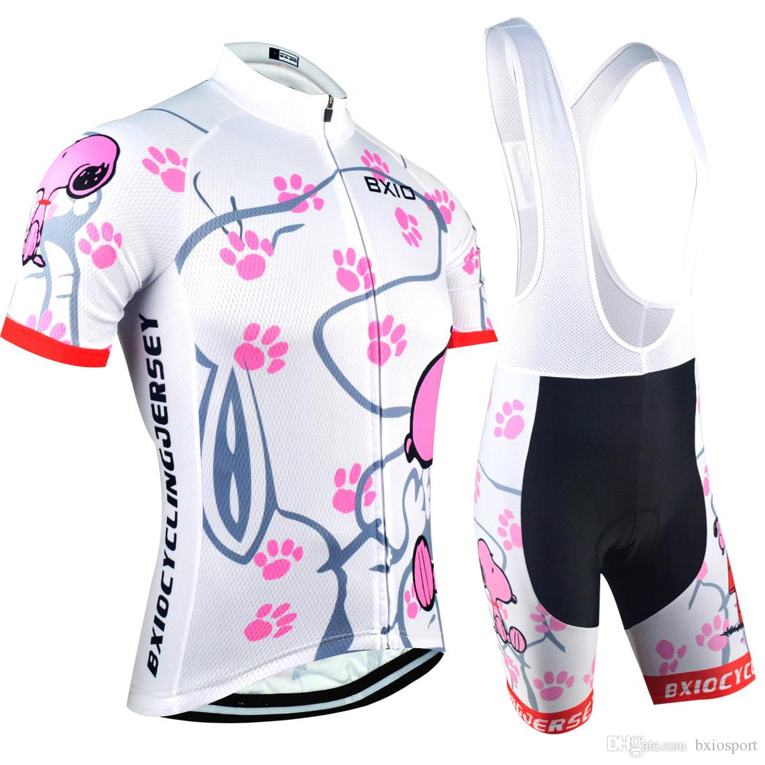 3031a8c81e63e BXIO Ciclismo Jerseys Mountain Road Bikes Ropa De Manga Corta Snoopy Womens  Cycling Jerseys Conjuntos De Verano De Secado Rápido Cycling Clothing BX  021 Por ...