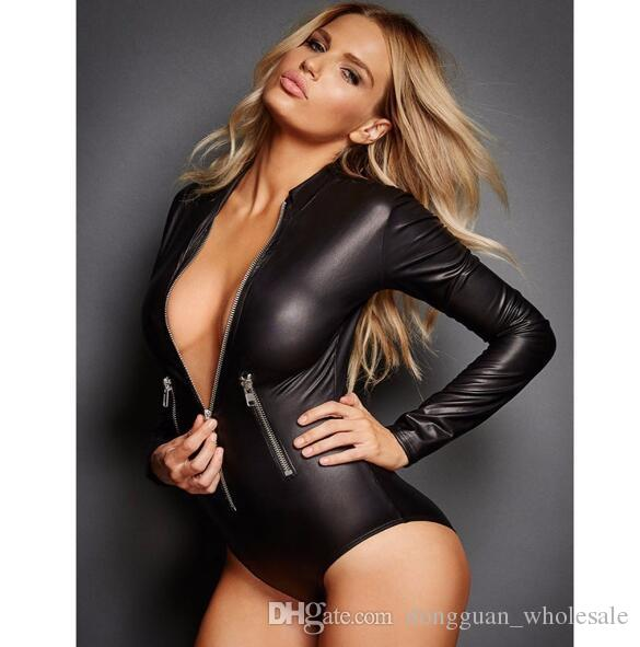 4f4ddb2d82b 2019 Sexy Faux Leather Catsuit Gothic Long Sleeve Short Lingerie Bodysuit  Plus Size 2XL Black Latex Bodycon Jumpsuit From Dongguan wholesale