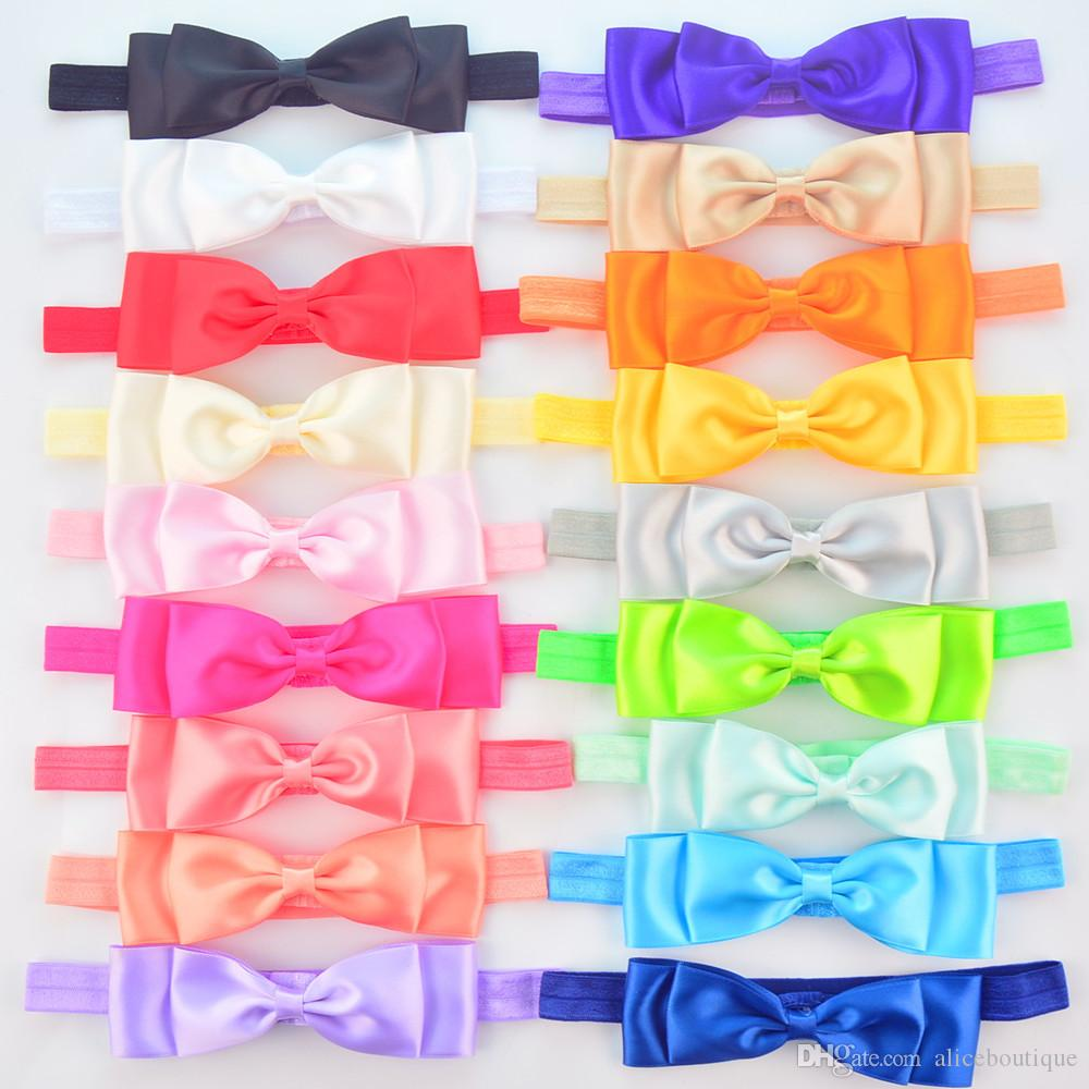 2018 New Arrival Rushed Candy Color Elastic Headband with Satin Silk Bow Cheap Girl Hair Accessories Fd234